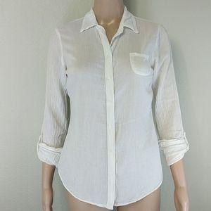 [Splendid] White Cotton Button Up 3/4 sleeve
